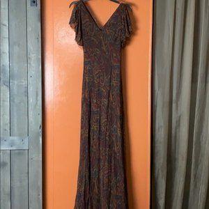 Lauren by Ralph Lauren Silk Paisley Maxi Dress